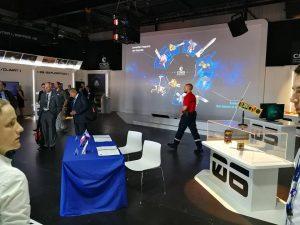 Vue de l'intérieur du pavillon du CNES lors du Salon International de l'Aéronautique et de l'Espace 2017 (Le Bourget)