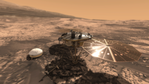 L'atterrisseur InSight déployé sur Mars ©VR2Planets